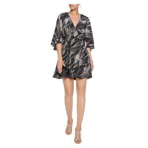 Halston Heritage Wrap-Effect Printed Silk Dress